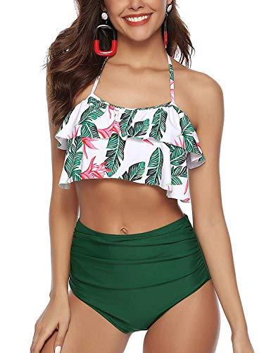 Leslady Bikini Damen Set Retro Bikini High Waist Badeanzug mit Rüschen Hals Flounce Bikini Oberteil und Hohe Taille Bikini Hose