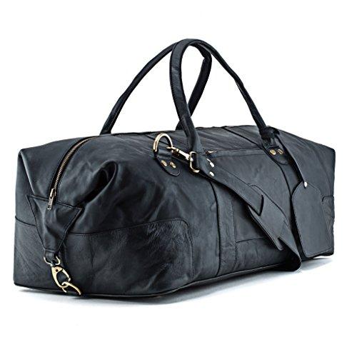 A.P. Donovan - Herren-Reisetasche braun | Duffle-Bag aus Leder mit viel Platz (Kurzurlaub) | Weekender | Große Fitnesstasche Sporttasche … (Schwarz) (Duffle Braun)