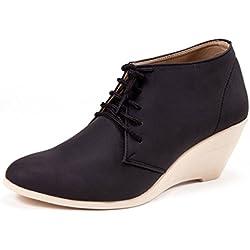 Marc Loire Women's Giselle Faith Black Faux Leather Wedges 39 EU