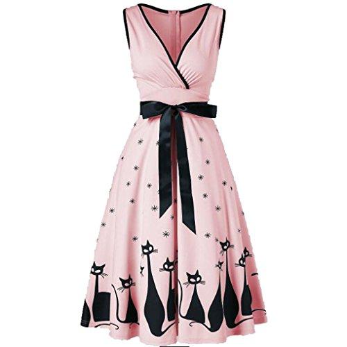 JYC Verano Falda Larga,Vestido De La Camiseta Encaje,Vestido Elegante Casual,Vestido Fiesta Mujer Largo Boda, Verano Grande tamaño Escote en V Retro Gato Impresión Vestir (M, Rosado)