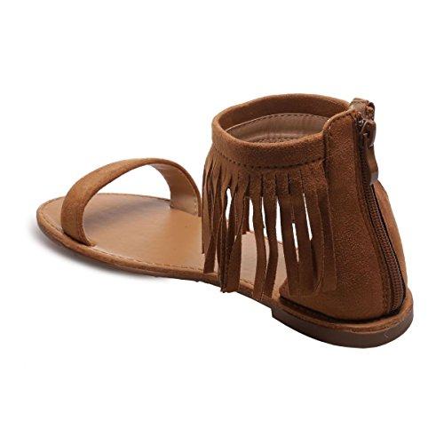 La Modeuse Sandales en Simili Daim à Lanière Horizontale Sur le Devant Camel