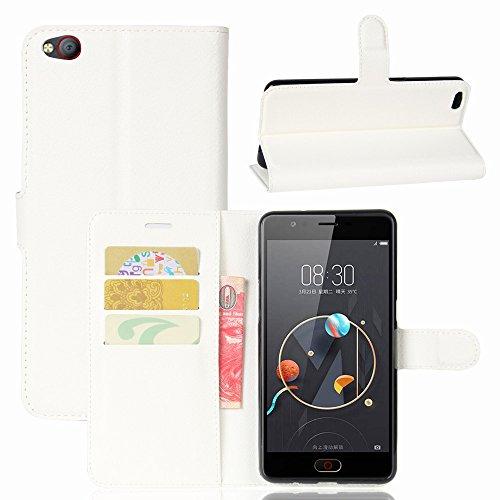 ZTE/Nubia N2 Handyhülle Book Case ZTE/Nubia N2 Hülle Klapphülle Tasche im Retro Wallet Design mit Praktischer Aufstellfunktion - Etui Weiß