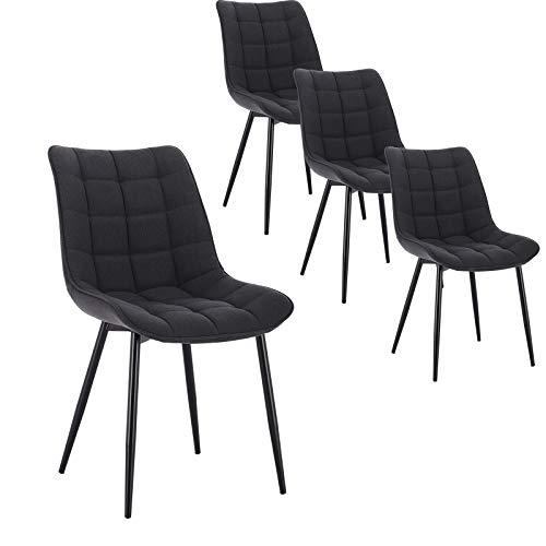 WOLTU 4 x Esszimmerstühle 4er Set Esszimmerstuhl Küchenstuhl Polsterstuhl Design Stuhl mit Rückenlehne, mit Sitzfläche aus Leinen, Gestell aus Metall, Dunkelgrau, BH206dgr-4