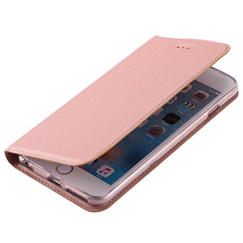 Custodia Cover per iPhone 6/6S plus,Ukayfe Luxury Ultra Slim PU pelle Protettiva Flip Portafoglio Cover Case Copertura Custodia con Super Sottile TPU Interno Case con Chiusura Magnetica per iPhone 6/6 Oro rosa