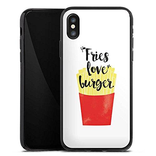 Apple iPhone X Silikon Hülle Case Schutzhülle Pommes Fastfood Burger Silikon Case schwarz