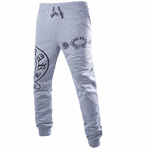 Men Casual Pants Printed Loose Style Hip Hop Trousers gray