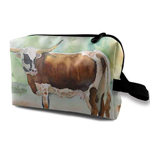 Travel Makeup Cosmetic Bag Brush Pouch Brown Cow Cattle Zipper Pen Organizer Carry Case beauty bag