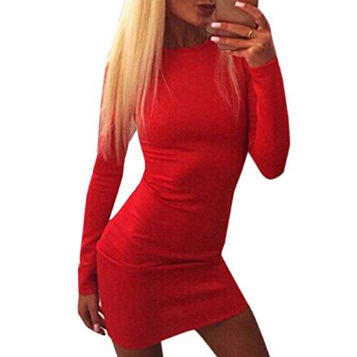 femmes dame licol fermeture eclair solide combinaison a manches longues mini robe Rouge
