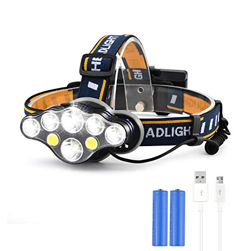 Aokebeey Stirnlampen LED wiederaufladbar Headlight Running wasserdicht 8 LED Kopfleuchte mit 8 Lichtmodi pefeckt für Laufen,Camping,Wandern,Angeln usw