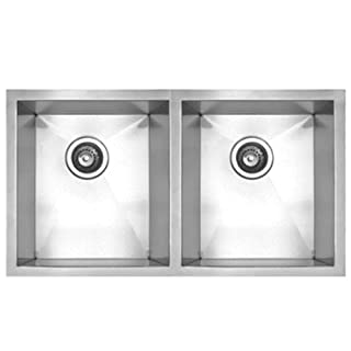 Whitehaus Haus Series 29 Inch Double Bowl Undermount Sink Brushed Stainless Steel