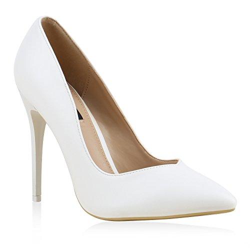Denim-heels (Spitze Damen Pumps Stiletto High Heels Lack Glitzer Party Denim Snake Velours Elegante Abend Schuhe 129093 Matt Weiss 37 Flandell)