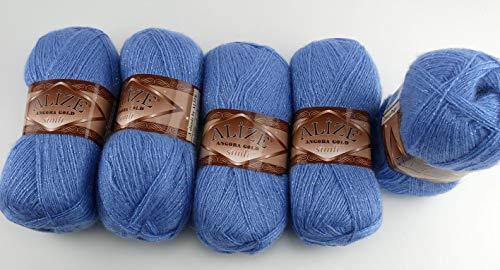 5 x 100 g Alize Glitzerwolle, Angora Gold Simli Effektwolle einfarbig, 500 Gramm Metallic - Wolle mit 20% Woll-Anteil #40