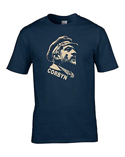 Jeremy Corbyn Lenin Stil Sowjetischen Leinwanddruck COOL Sozialistische Print Herren T-Shirt von Fat Kuckuck Gr. Small, Blau - Navy