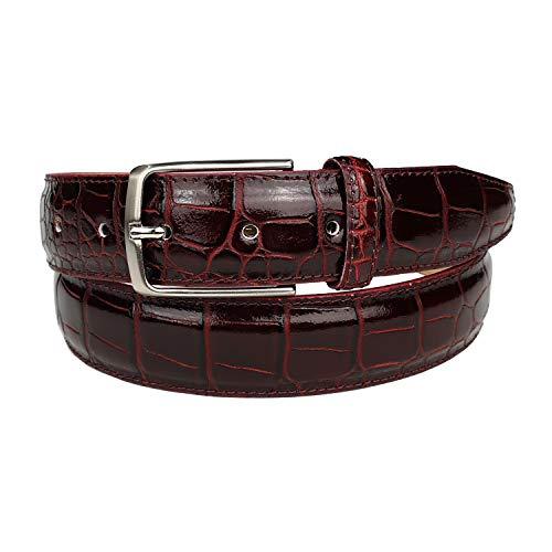 Mix Your Beauty MYB - Cinturón para hombre de piel auténtica con relieve de cocodrilo, fabricado en Italia, altura de 35 mm, varios colores y tamaños disponibles burdeos 95/110 cm