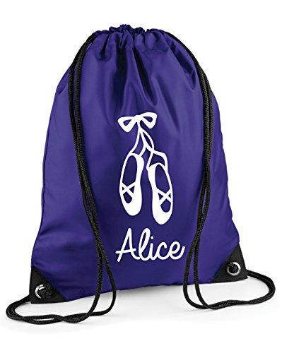 Kinder personalisierbar Ballett Schuhe Pull String Tasche Purple / White Print