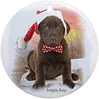 CafePress–Chocolate Lab Puppy Babbo Natale decorazione (rotondo)–Vacanza decorazione natalizia