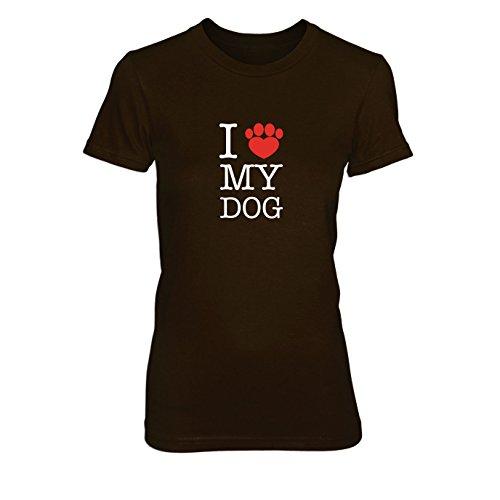 I love my Dog - Damen T-Shirt Braun