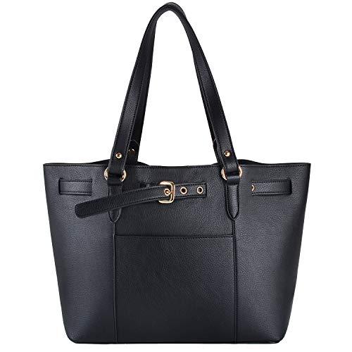 Handtasche Damen, Fanspack Shopper Handtasche Leder Elegant Schultertasche Groß Kapazität Tote Bag+ Kleine Tasche 2 Set Schwarz für Büro Schule Einkauf -