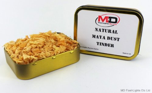 Zinn Natürlichen (MD FlashLights Etc Ltd 2 x Goldfarbene Dosen mit Tabak-Dosen, gefüllt mit 100% natürlichem Maya- / Fettholz-Staub und Feueranzünder, ideal für Busfahrzeuge, Survival-Survival-Zinn, 2 Stück)