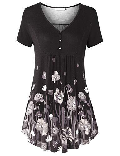 BAISHENGGT Damen Tops T-Shirts mit V-Ausschnitt Swing Ruffle Blusen Tunika mit Knöpfen Casual Kurz Ärmel Schwarz-Blumen 2XL - Ruffle Tee Top