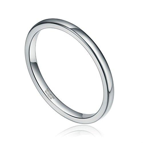 Silber Damen Ringe aus Wolframcarbid Hochzeit Ehering Verlobungsringe 2mm (Herren Silber-wolfram-ringe)