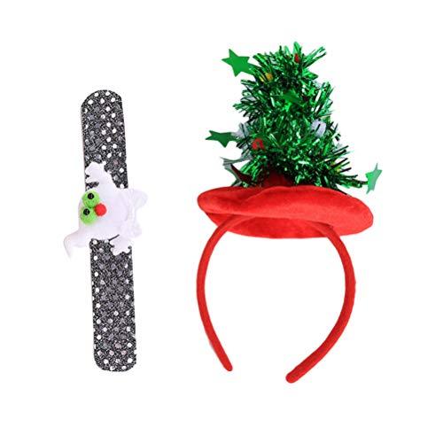 HEALIFTY 2 stücke Weihnachten Stirnbänder Weihnachtsbaum Stirnband und Ghost Slap Armbänder Weihnachtsdekoration Kostüm Zubehör