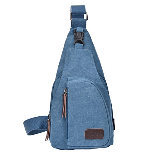 Zeafin Männer Mode Anti-Diebstahl-Design Wasserresistente Sling Bag Einfache Stil Oxford Casual Daypack Crossbody Brust Tasche Outdoor-Umhängetasche Blau
