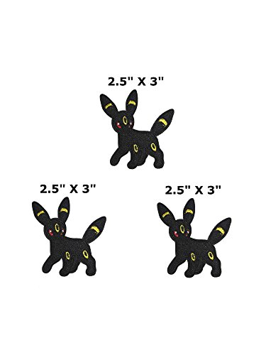 Umbreon Pokemon – 3 Pack – 6,3 x 7,6 cm Anime Manga Logo Thema Cosplay gesticktes Eisen/aufgesetzte Patch Badge DIY ()