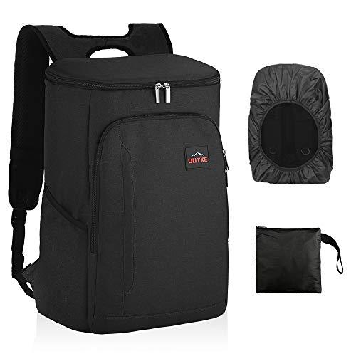 OUTXE Kühltasche Rucksack 25L Picknicktasche Lunchtasche für Camping Wandern Picknick (Schwarz)