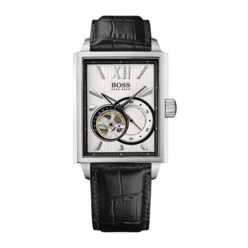 Hugo Boss - 1512504 - Montre Homme - Automatique - Cadran Argent - Bracelet Cuir Noir