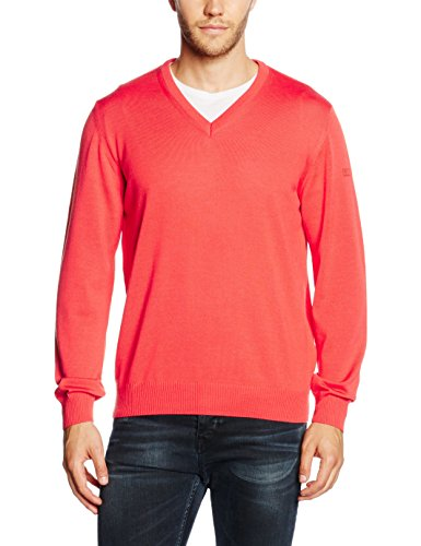 Maerz 490400 - Pull - Uni - Col V - Manches Longues - Homme Rouge (framboise 419)