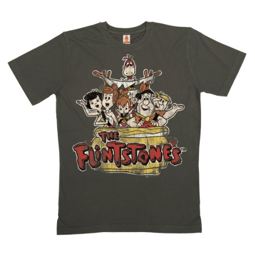 Logoshirt - Flinstone T-Shirt Bio Baumwolle - Road Trip - Familie Feuerstein - dunkelgrau - Linzenziertes Originaldesign, Größe XL