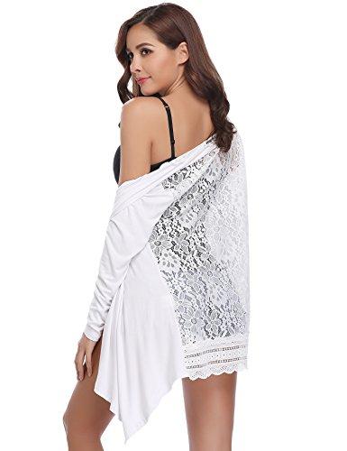 Abollria Damen Lang Cardigan Leichte Offene Jacke mit Spitze Rücken Elegante Festliche Strickjacke für Sommer Weiß, XL - Offene Strickjacke
