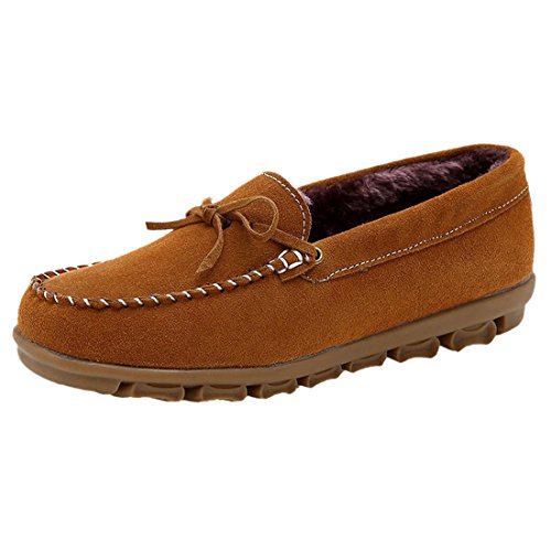 Suede Court Peluche Casaul Mode Hiver Chaud Femmes Antiderapant Slip-On Chaussures Brun