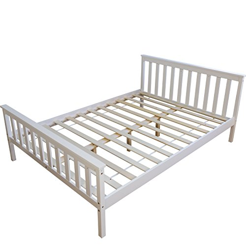 Homestyle4u 890 Holzbett Kiefer massiv , Doppelbett Holz aus Bettgestell mit Lattenrost , 140x200 cm , Weiß