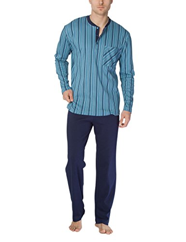 Calida Herren Zweiteiliger Schlafanzug Clint Pyjama Mehrfarbig (Blue Slate 376)