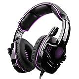 YaNanHome Gaming Kopfhörer Computer Kopfhörer mit Mikrofon Head-Mount Headset (Color : Purple)