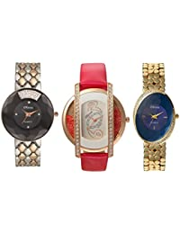 Oleva Premium Women's Metal & Leather Watch Pack Of 3 OPC-3-10-M