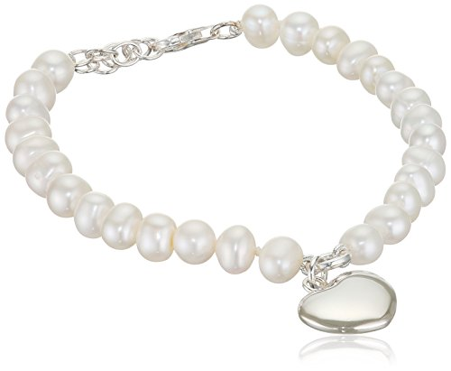 Elements Silver Women's 925 Sterling Silver Pearl with Puff Heart Bracelet of Length 21 cm