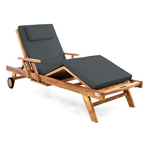 Divero Sonnenliege Holzliege Gartenliege Teak-Holz behandelt mehrfach verstellbar inkl. Räder Tablett + Liegen-Auflage 4-teilig wasserabweisend anthrazit