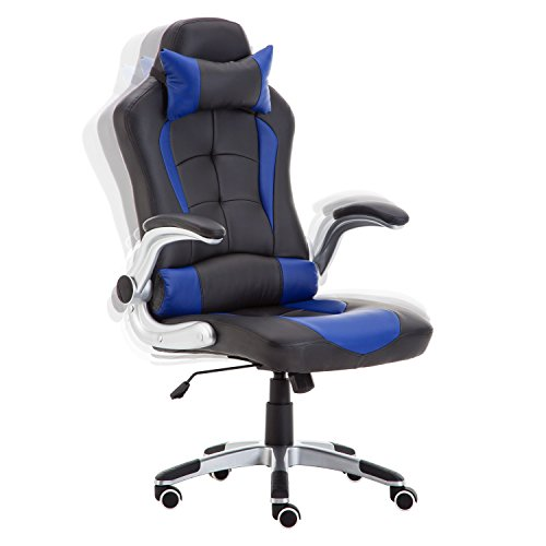 FAYEAN Racing Gaming sedia da ufficio ergonomica, design High Back PU scrivania sedia a dondolo con poggiatesta e supporto lombare Blue