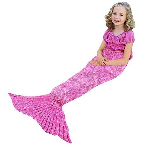 Meerjungfrau Schwanz Decke für Kinder Jugend Erwachsene, manuelle gehäkelte Decke, Jahreszeiten Warm, weiche Wohnzimmer, Schlafsack, bestes Geburtstagsgeschenk (Kinder Größe, (Kostüm Für Babys Meerjungfrau)