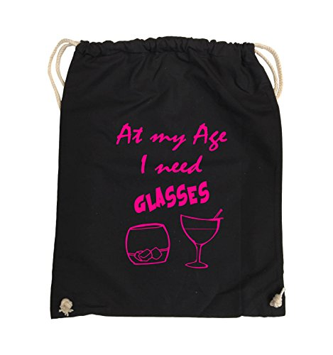 Comedy Bags - At my Age I need GLASSES - Turnbeutel - 37x46cm - Farbe: Schwarz / Pink Schwarz / Pink