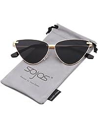SojoS Vintage Retrò Specchio Cateye Occhiali da Sole Donna SJ1049 con Oro Telaio/Viola Specchio Lente