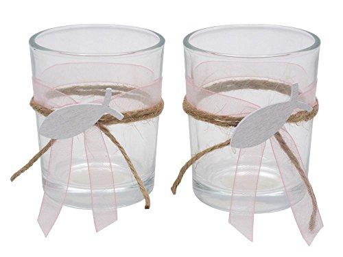 2X Teelichtglas Grün Rosa Pink Lila Fisch Vintage Kommunion Konfirmation Tischdeko, Farbe:Rosa