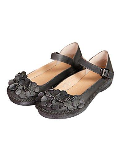 Youlee Femmes Fait Main Fleurs Boucle Cuir Chaussures Gris