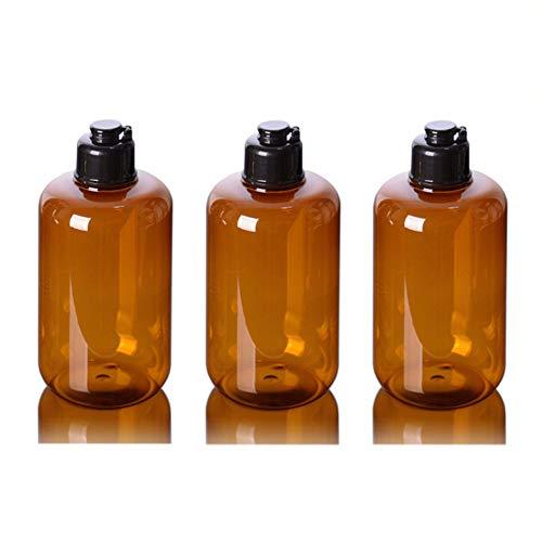 3 PCS 300 ML 10OZ vide bouteille en plastique brun rechargeable avec couvercle de jingle noir toner Pure Dew Pot titulaire support de cosmétique conditionneur de stockage conteneur