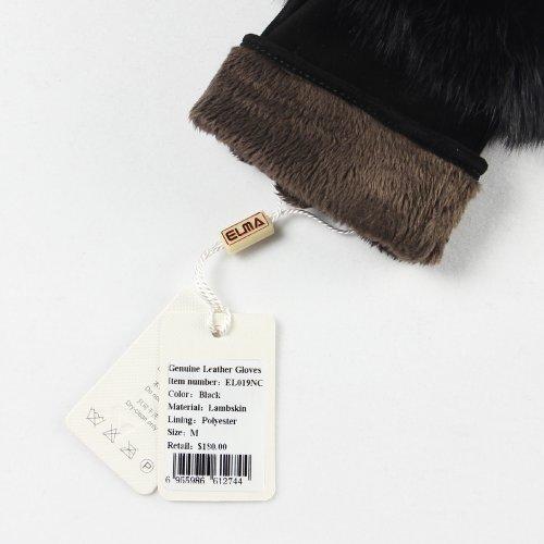 ELMA femmes véritable cuir de suède Mitaines de fourrure de lapin souple avec garniture plaqué or Logo Noir