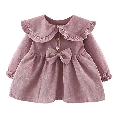 Livoral Kleinkind Baby Kind Mädchen Feste gekräuselte Fliege Kleid Freizeitkleidung(Lila,12-18 Month)
