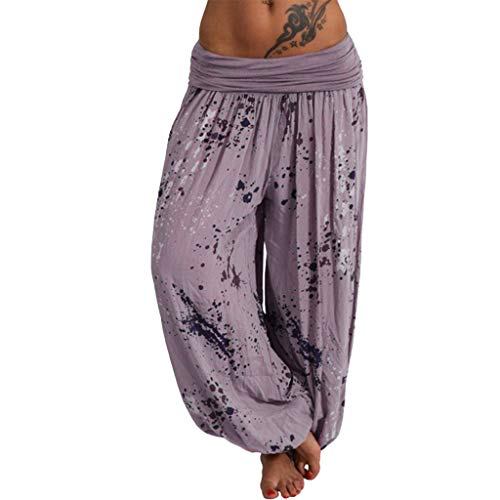 Lazzboy Frauen Damen Printed Band Breite Lose Beinhosen Casual Hosen Pumphose Harem-Stil Sommerhose Einheitsgröße Haremshose Lange Leinen Hose Gürtel Aladin Pants(Khaki,2XL)